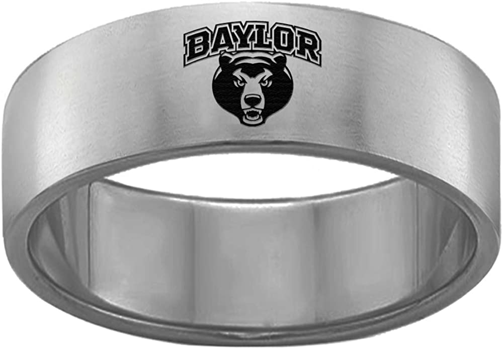 Baylor Bears Single Logo College Rings Stainless Steel 8MM Wide Ring Band Size 12.5