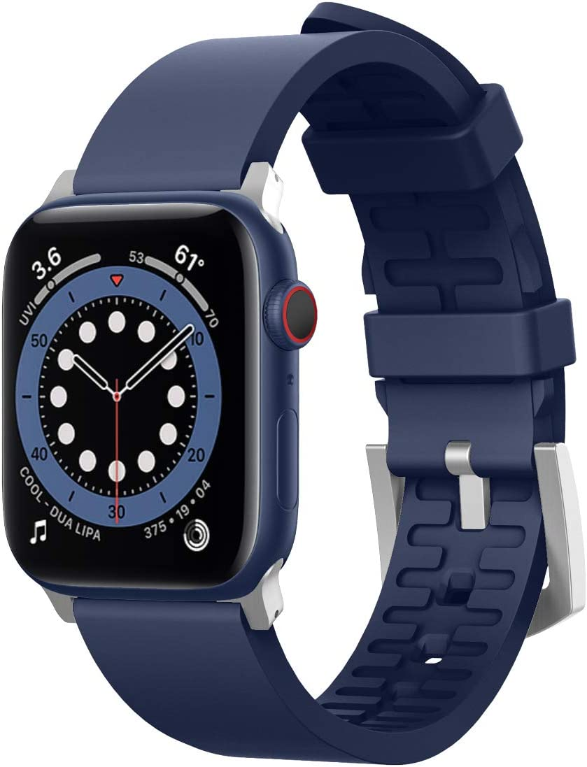 elago Sport Band Compatible with Apple Watch Band 38mm 40mm 42mm 44mm for iwatch Series 6/SE/5/4/3/2/1 - Premium Fluoro Rubber Material (Jean Indigo)