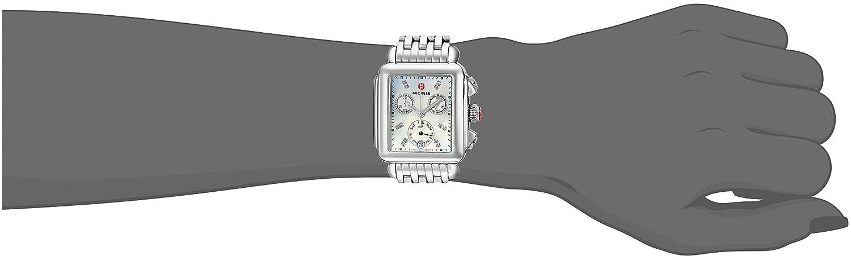 Michele Women s Deco Diamond Dial Stainless Steel Watch