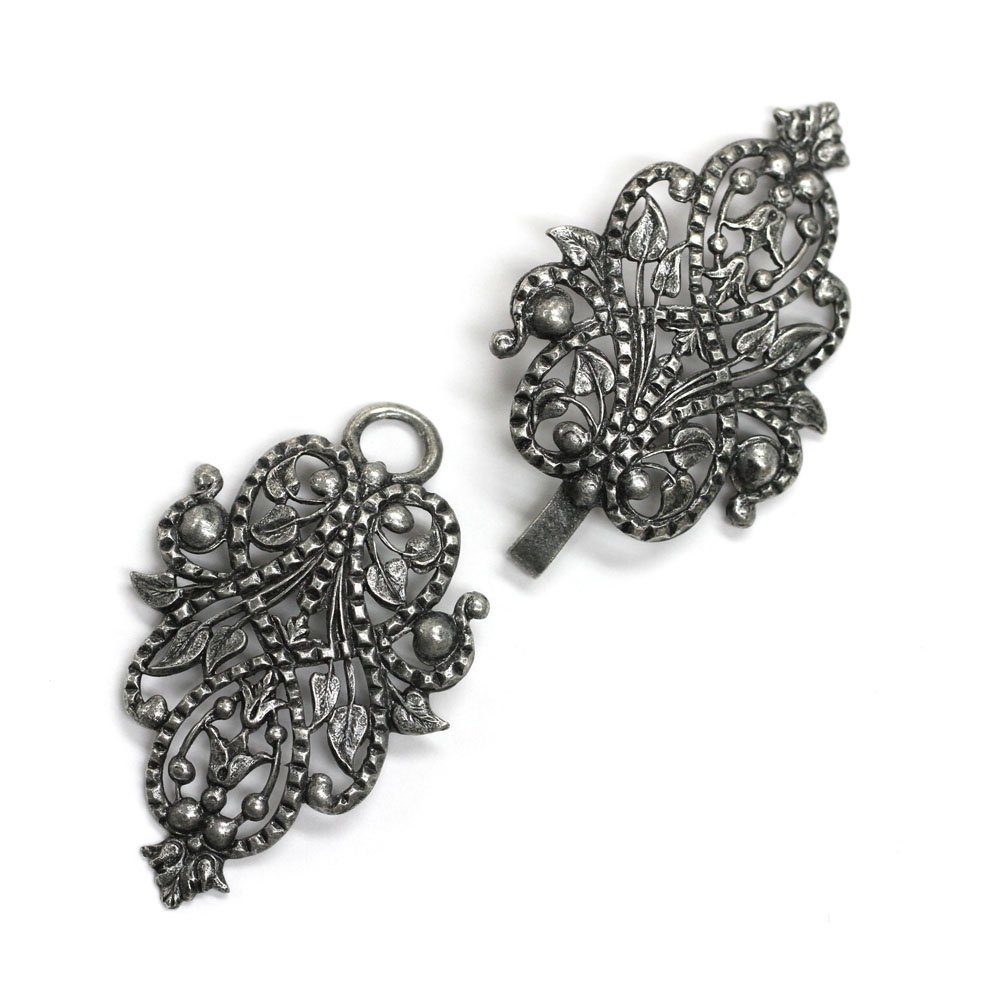 Antique Silver''Clothilde'' Clasp for Cloaks and Capes, 4'', Made in France