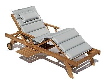 Gartenliege holz mit auflage  Amazon.de: Baltico Teak Holz Liege Gartenliege Sonnenliege + Auflage ...
