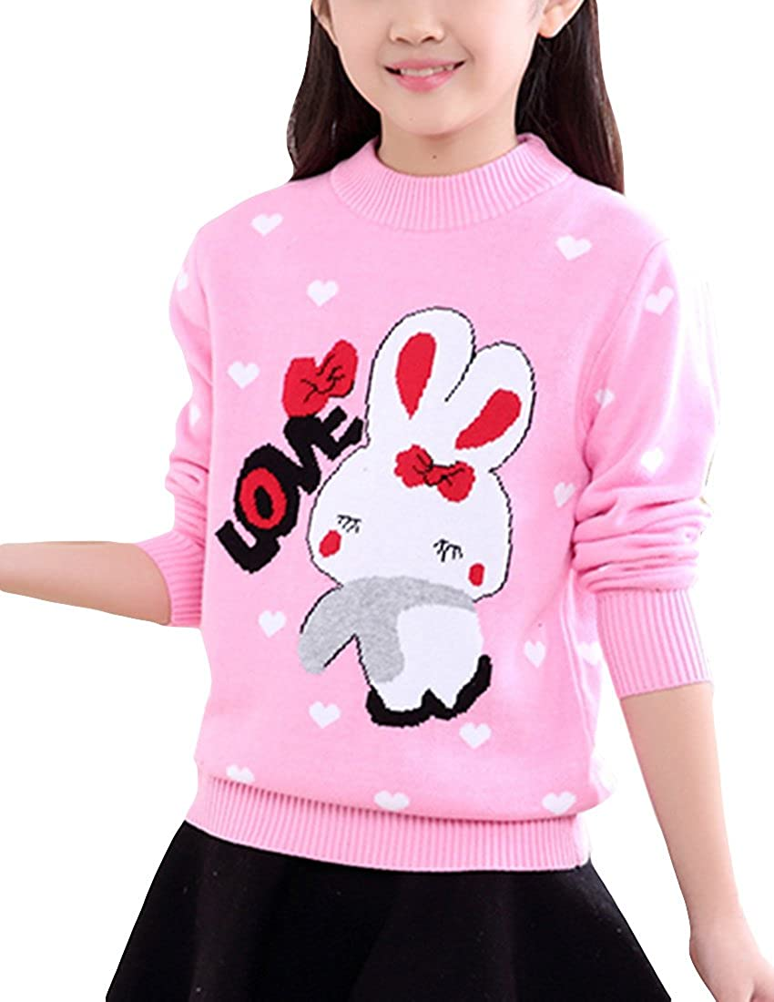 MFrannie Girl Thick Wool Knit Casual Lovely Rabbit Heart Dot Sweater