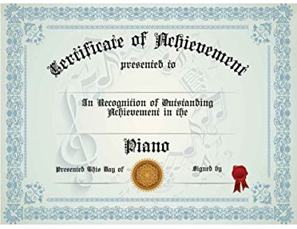 Amazon.com : Piano Achievement Certificate, Pack of Ten ...