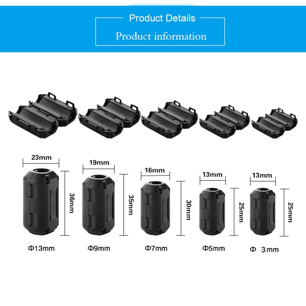 9mm Inner Diameter Pack of 10 Topnisus TN008 Clip-on Ferrite Core Ring Bead Anti-Interference High-Frequency Filter RFI EMI Noise Suppressor Cable Clip