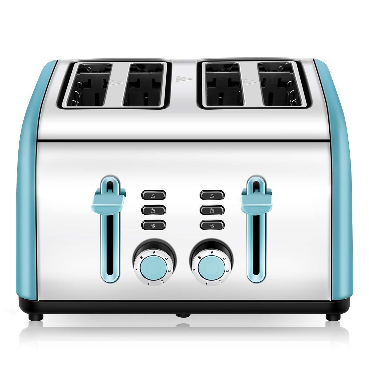 4-Slice Toaster, CUSINAID 4 Wide Slots Stainless Steel Toasters with Reheat Defrost Cancel Function, 7-Shade Setting, Blue by CUSINAID