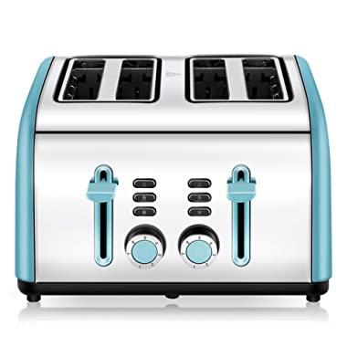 4 Slice Toaster, CUSINAID Stainless Steel Toasters with Reheat Defrost Cancel Function, 7-Shade Setting, 4 Wide Slots Toaster (Blue)