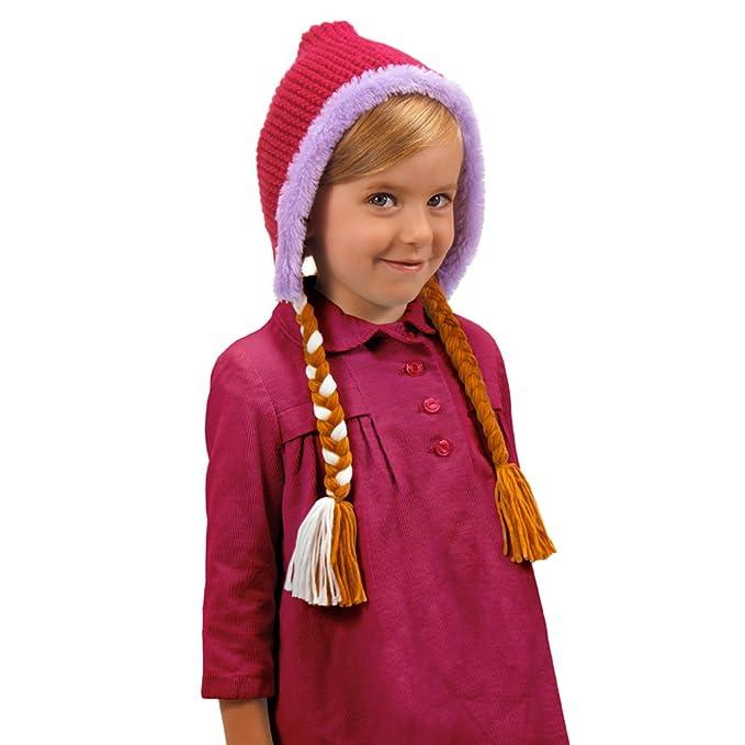 De Frozen Anna de punto sudadera con capucha gorro con diseño de princesas Disney Braids en la película de pelo de patrones de costura para: Amazon.es: Ropa ...