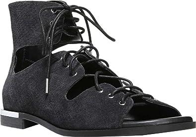 Fergie Footwear Women's Cassie Lace-Up Gladiator Sandal,Black Suede,US 6.5 M