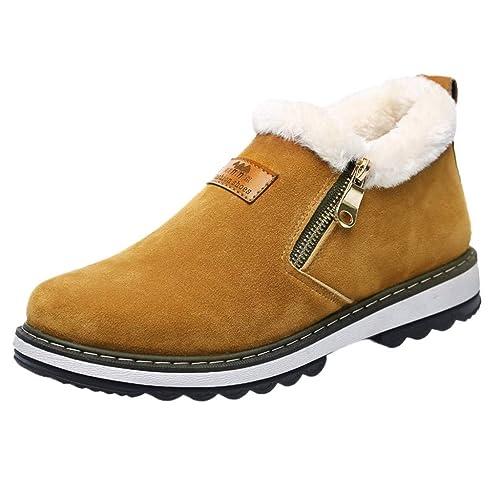 acheter populaire 71b1b 10e7e Boots Hiver Hommes, Manadlian Peluche Chaude Chaussures Fermeture éclair  Bottes Daim Cuir Baskets Basses