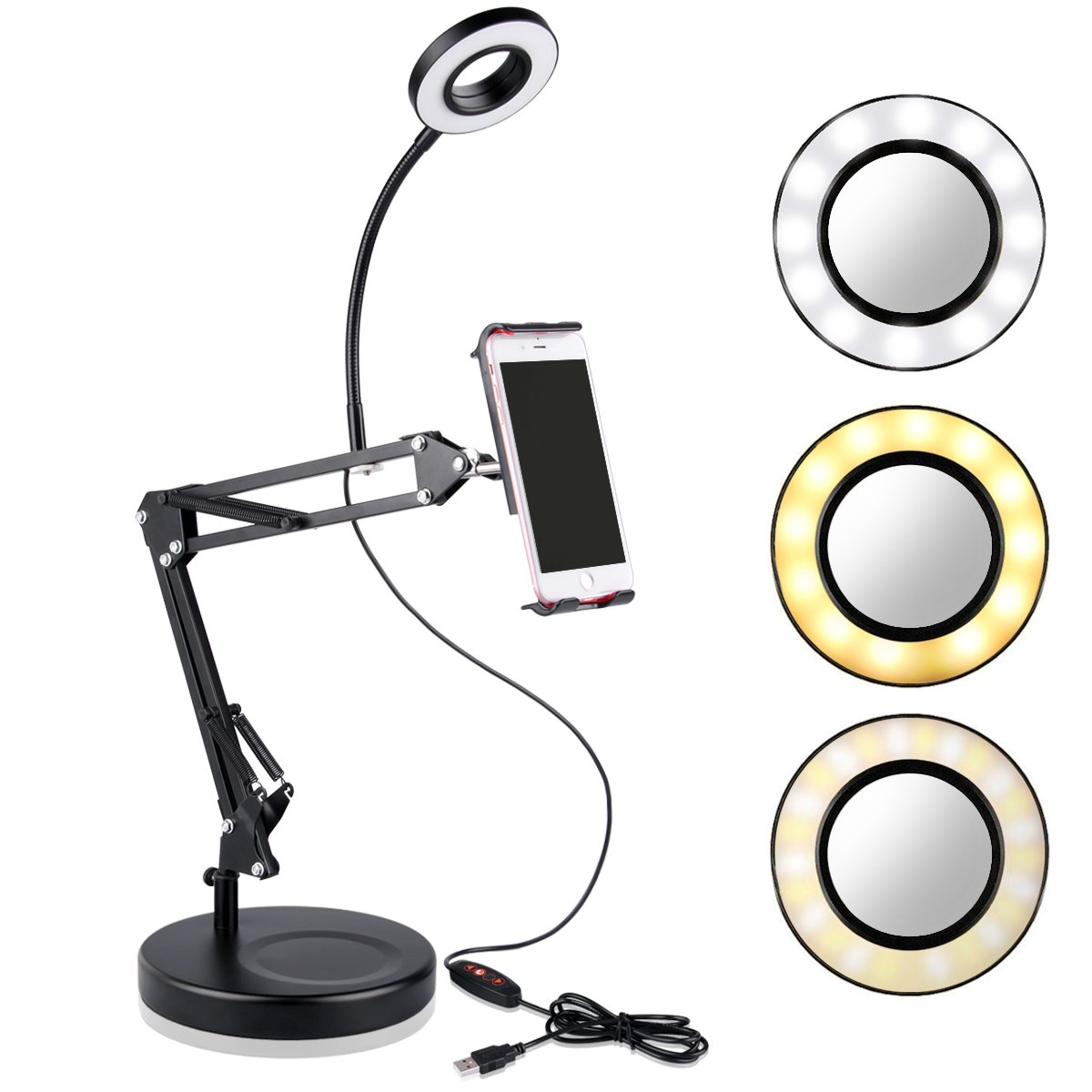 B-Land Cell Phone Holder with Selfie Ring Light for Live Stream, LED Camera LED Light with Mirror Flexible iPad Stand Holder Mobile Phone Stand for iPhone, Andriod Phone & Tablets by B-Land