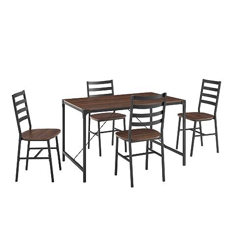 Amazon.com: Offex - Mesa de hierro rústica con respaldo de ...