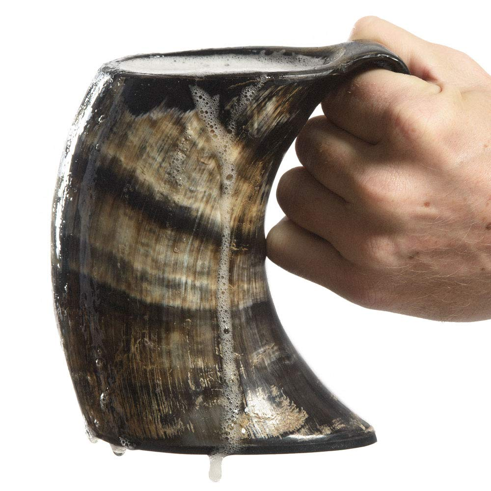 AleHorn - The Original Handcrafted Authentic Viking Drinking Horn Large Tankard for Beer, Mead, Ale - Medieval Inspired Stein Mug - Food Safe Vessel With Handle