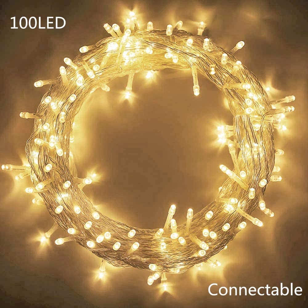 MYGOTO 33FT 100 LEDs String Lights Waterproof Fairy Lights 8 Modes with Memory 30V UL Certified Power Supply for Home, Garden, Wedding, Party, Christmas Decoration Indoor Outdoor (Warm White)