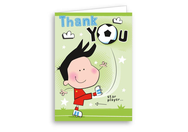 Children's Thank You Cards Football 20 Pack PaperGekko