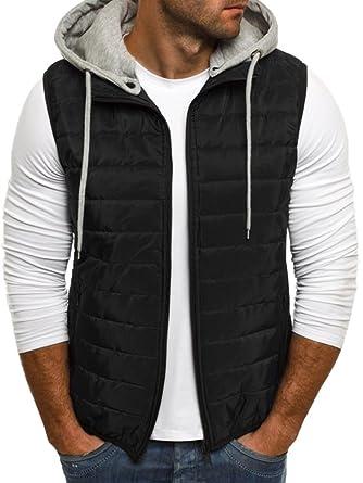 0da15de9c Meilidress Mens Down Outwear Vest Sleeveless Hooded Quilted Puffer ...