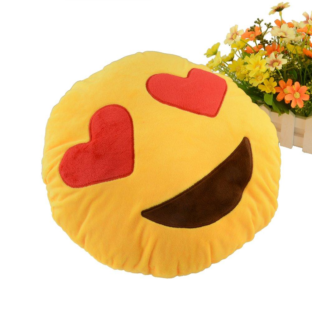 Miryo-Coj/ín con dise/ño de emoji Emoticonos Emoticones ojos de corazones suave y c/ómodo decoraci/ón Sof/á juguete de peluche Mono Divertido 32 x 32 x 12