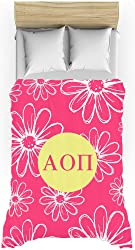 Alpha Omicron Pi (AOPi) Daisys Hot Pink Lightweight Duvet Cover for Twin Bed