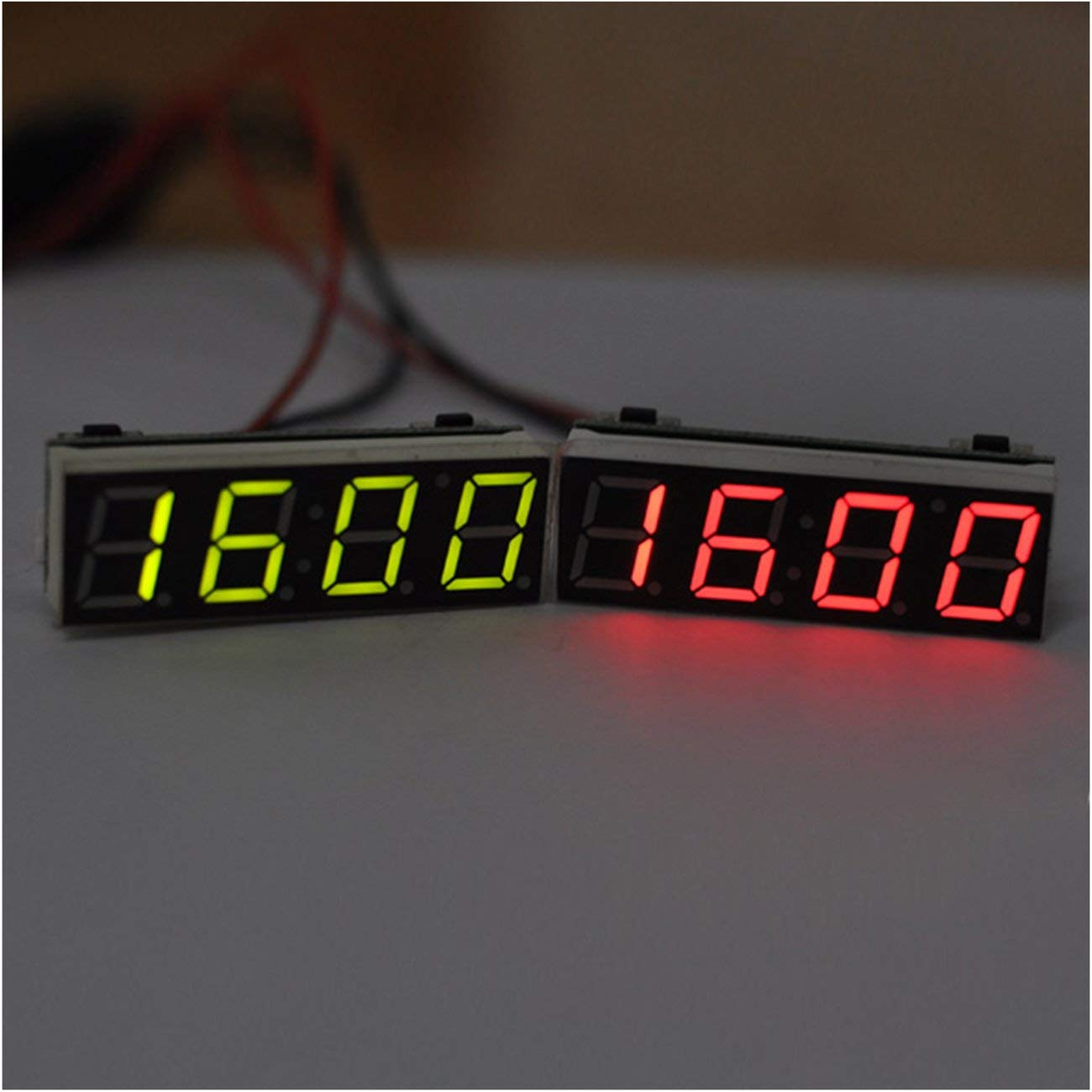 3 in 1 Digital LED Time Clock Temperature Voltage Module Mini Voltmeter Thermometer for Car Arduino Electronic DIY Panda Blue