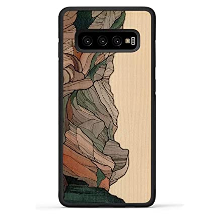 Carved Samsung Galaxy S10 Plus Luxury Protective Traveler Case Unique Real Wooden Phone Cover Rubber Bumper Half Dome Print