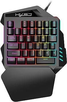 HXSJ V100 - Teclado para Videojuegos (Membrana con una Mano, 35 Llaves con Cable USB, para Videojuegos Pubg LOL CS Gamer),Teclado una mano