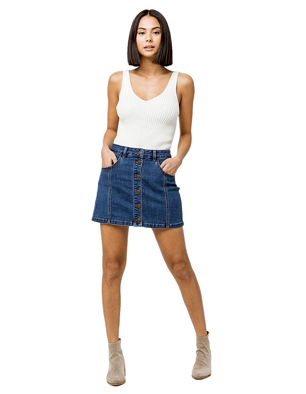 9dc5797956 Almost Famous Button Front High Rise Dark Wash Denim Skirt, Dark Wash, 5 at  Amazon Women's Clothing store: