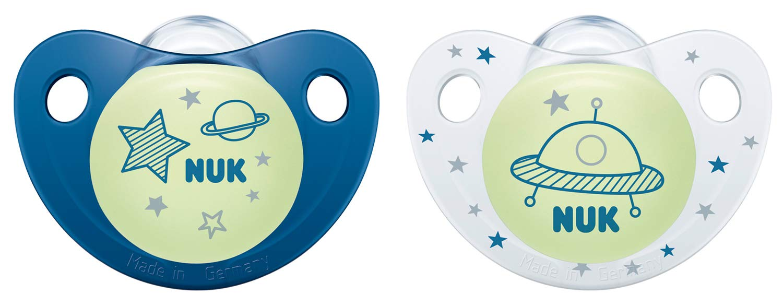 NUK 10177130 Night & Day - Chupete de silicona (forma adaptada a la mandíbula, 18-36 meses, 2 unidades), color azul