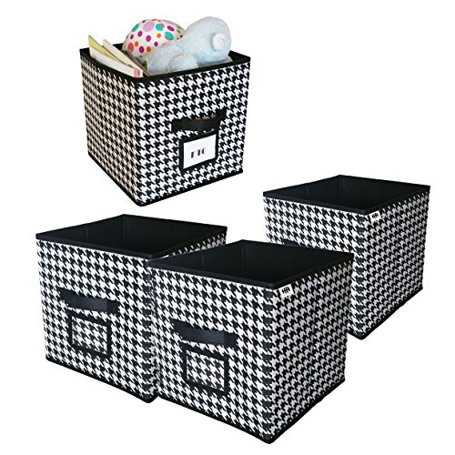 Cube Foldable Storage Bin with Label Window , Black and White Collapsible fabric Bins for Closet , Patterned Cloth Organizer , Decorative Box Container , Bookshelf , Drawer, Office (Set of 4)