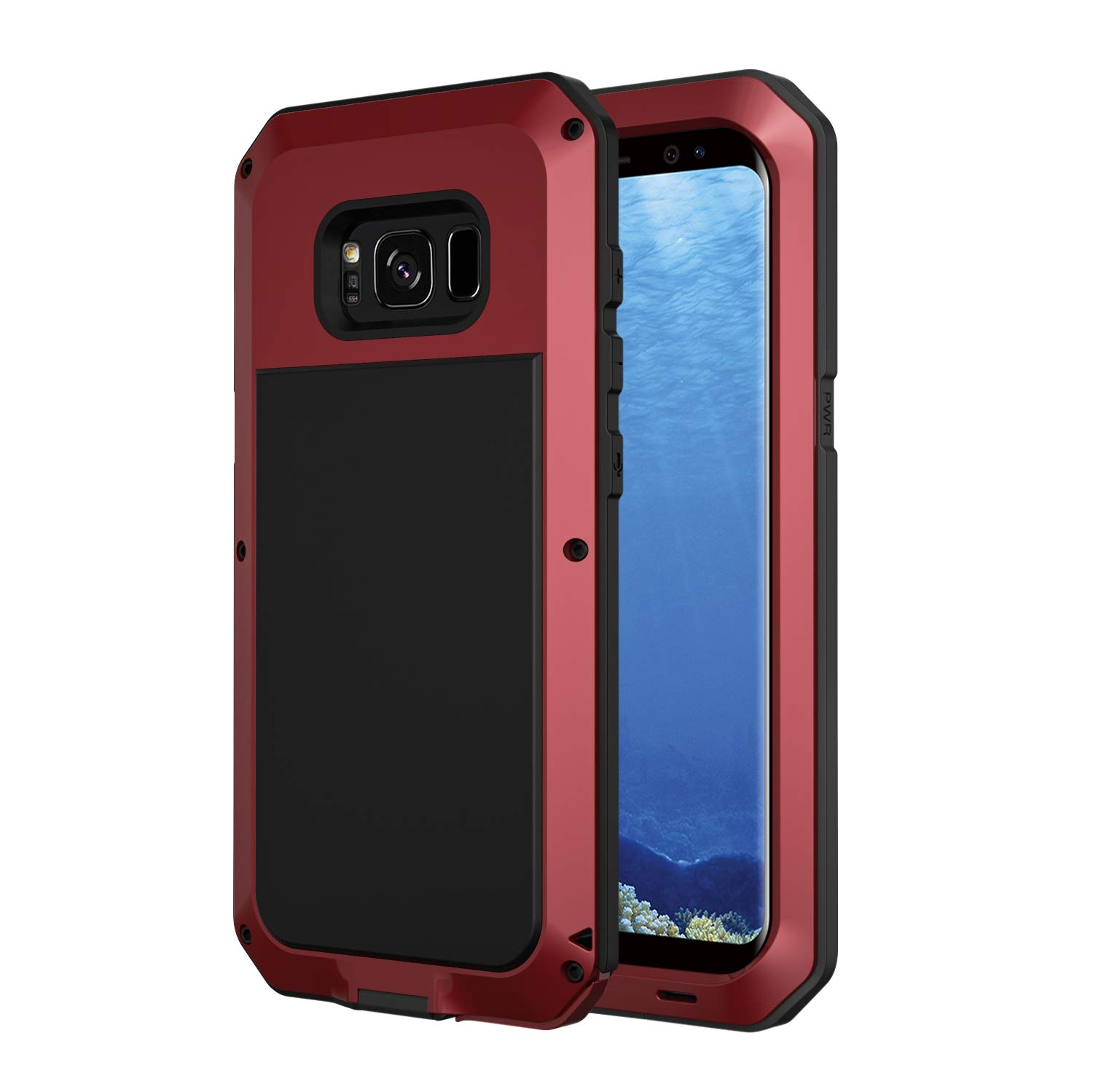 the best attitude ad0fc 3fa45 Galaxy S8 Plus Case, Seacosmo Military Rugged Heavy Duty Aluminum  Shockproof Dual Layer Bumper Cover for Samsung Galaxy S8+, Red