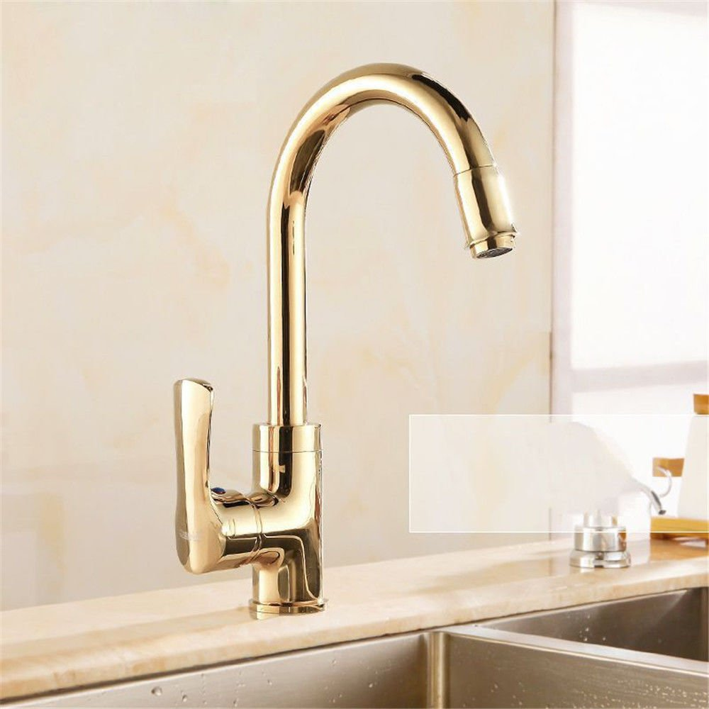 A Lpophy Bathroom Sink Mixer Taps Faucet Bath Waterfall Cold and Hot Water Tap for Washroom Bathroom and Kitchen gold All Copper Hot and Cold Single Hole pink gold A