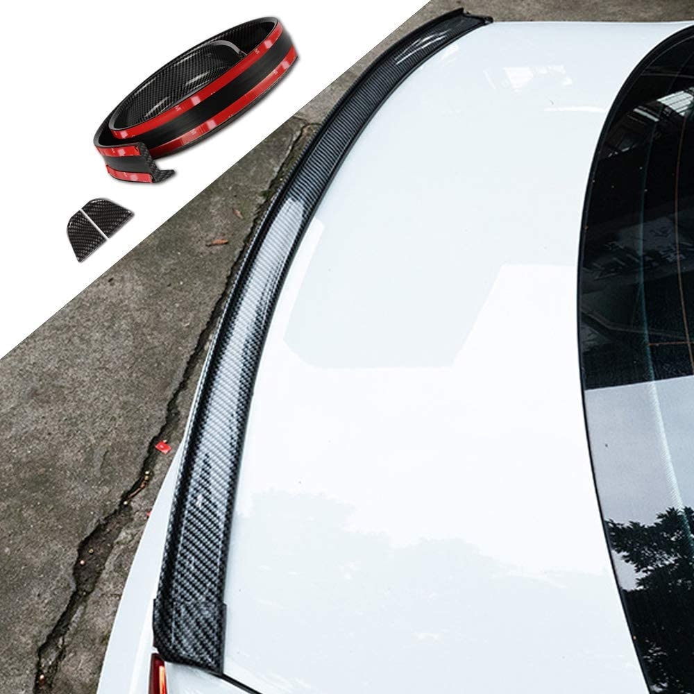 X AUTOHAUX 59 Gloss Black Car Rear Spoiler Wing Rubber Molding Lip Tail Trunk Roof Trim Sticker Universal
