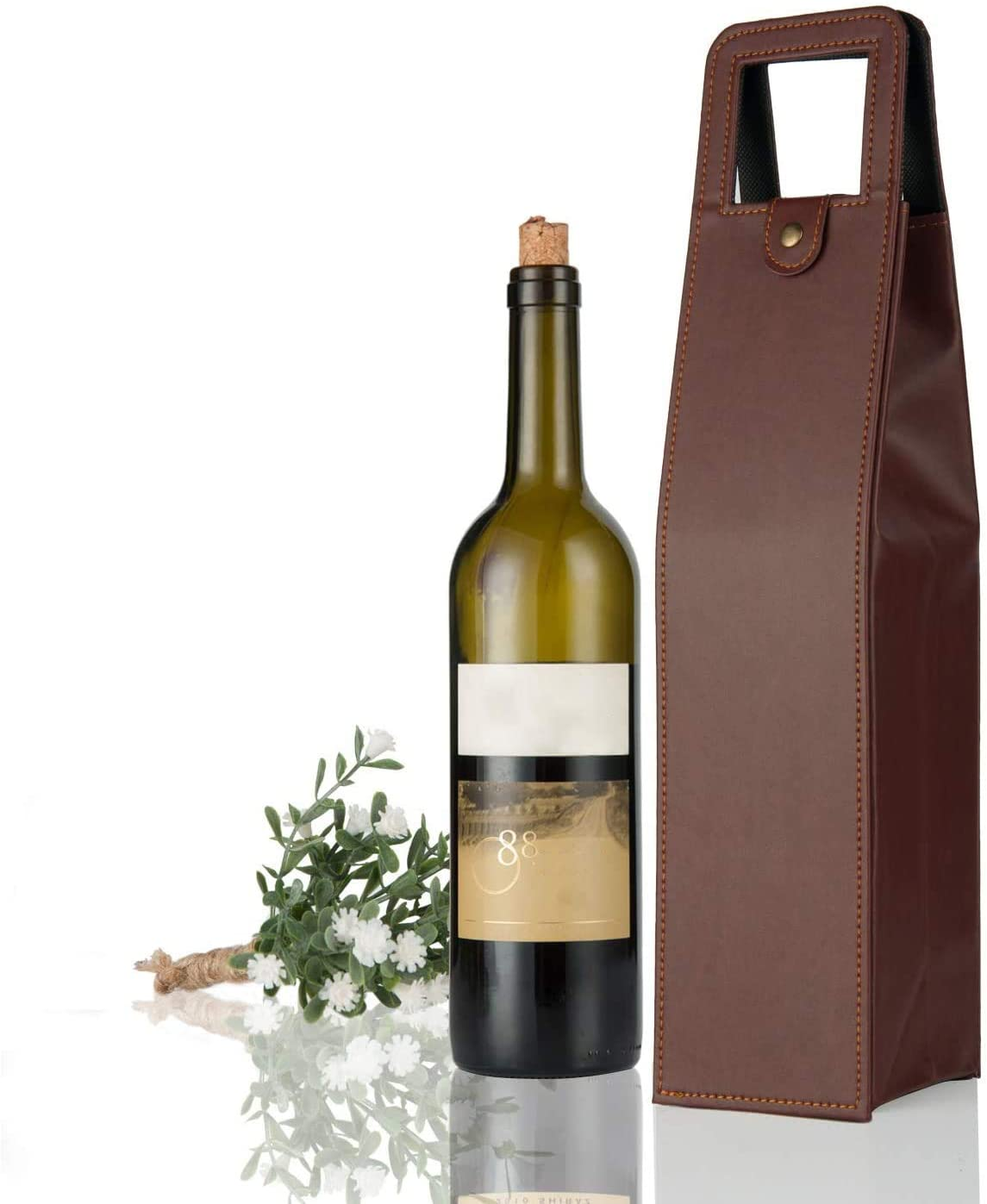 YunKo Leather Wine bag with Handles Reusable Wine Carriers Bag Single Bottle Wine Tote(Brown)
