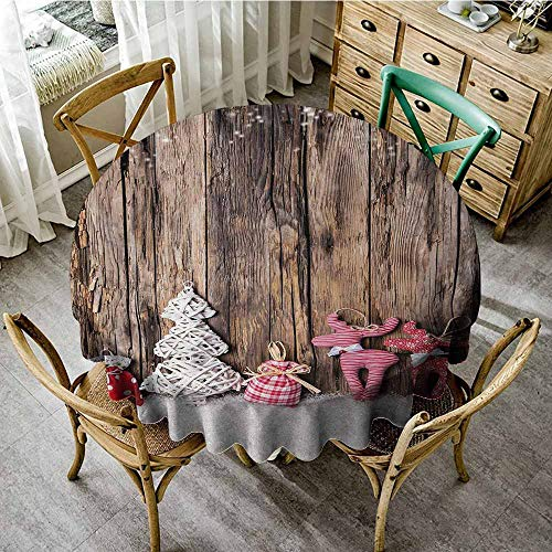 Oncegod Spillproof Tablecloth Winter Traditional Cute Cloth Christmas  Inspired Figures Rustic Wooden Planks Vintage High-end Durable Creative  Home 47