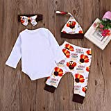 Kehome Infant Baby Toddler Girls Boy Fall Outfits My First Thanksgiving/Christmas Clothes 4pcs Holiday Clothes White 0-6 Months