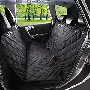 WENFENG Pet Seat Cover, Waterproof & Scratch Proof Dog Car Seat Covers, Hammock Convertible, Non-Slip Backing with Seat Anchors, Machine Washable Backseat Cover for Cars, Trucks and SUVS