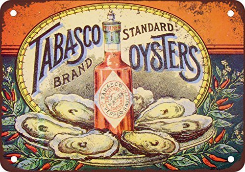 Tabasco Pepper Sauce and Oysters Vintage Look Reproduction Metal Tin Sign 12X18 Inches