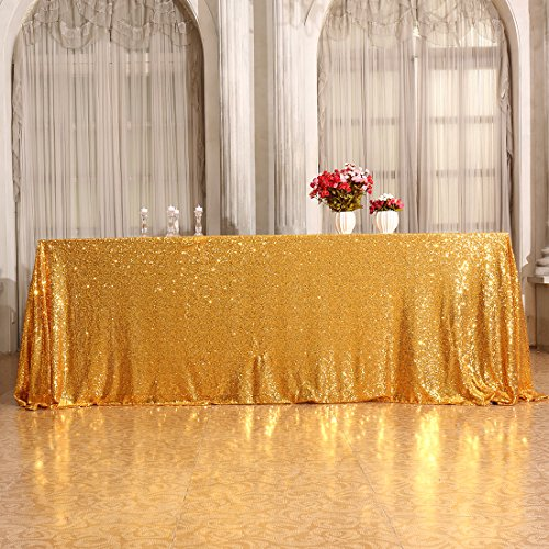 ctangle Sequin TableCloth for Party Cake Dessert Table Exhibition Events, Gold (Event Accessories)
