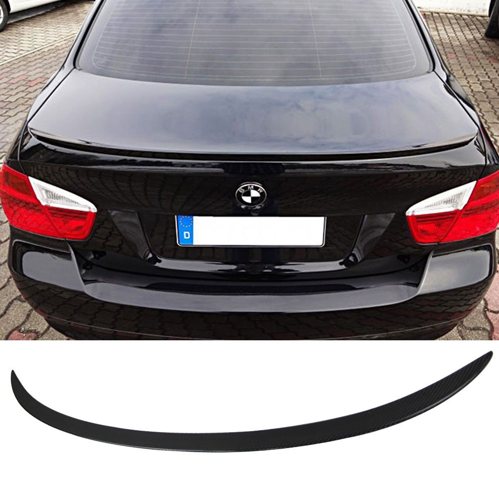 Trunk Spoiler Fits 2005-2011 BMW 3-Series E90 | M3 Style CF Carbon Fiber Rear Tail Lip Deck Boot Wing Other Color Available By IKON MOTORSPORTS | 2006 2007 2008 2009 2010 by IKON MOTORSPORTS