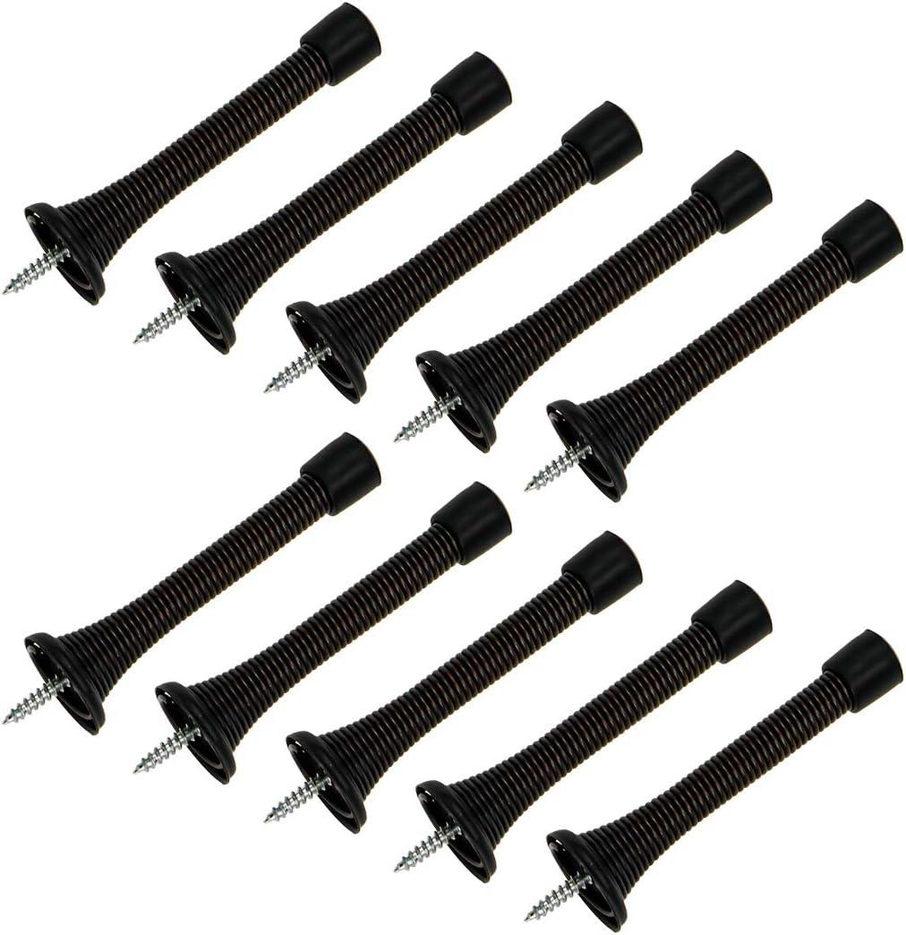 HONJIE 10 Packs Spring Door Stops Bronze Flexible Heavy Duty Door Stopper with Black Rubber Bumper