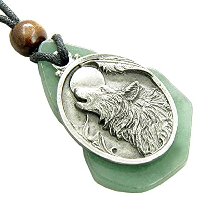Protection Wolf Head Amulet Green Quartz Word Stone Lucky Pendant Necklace