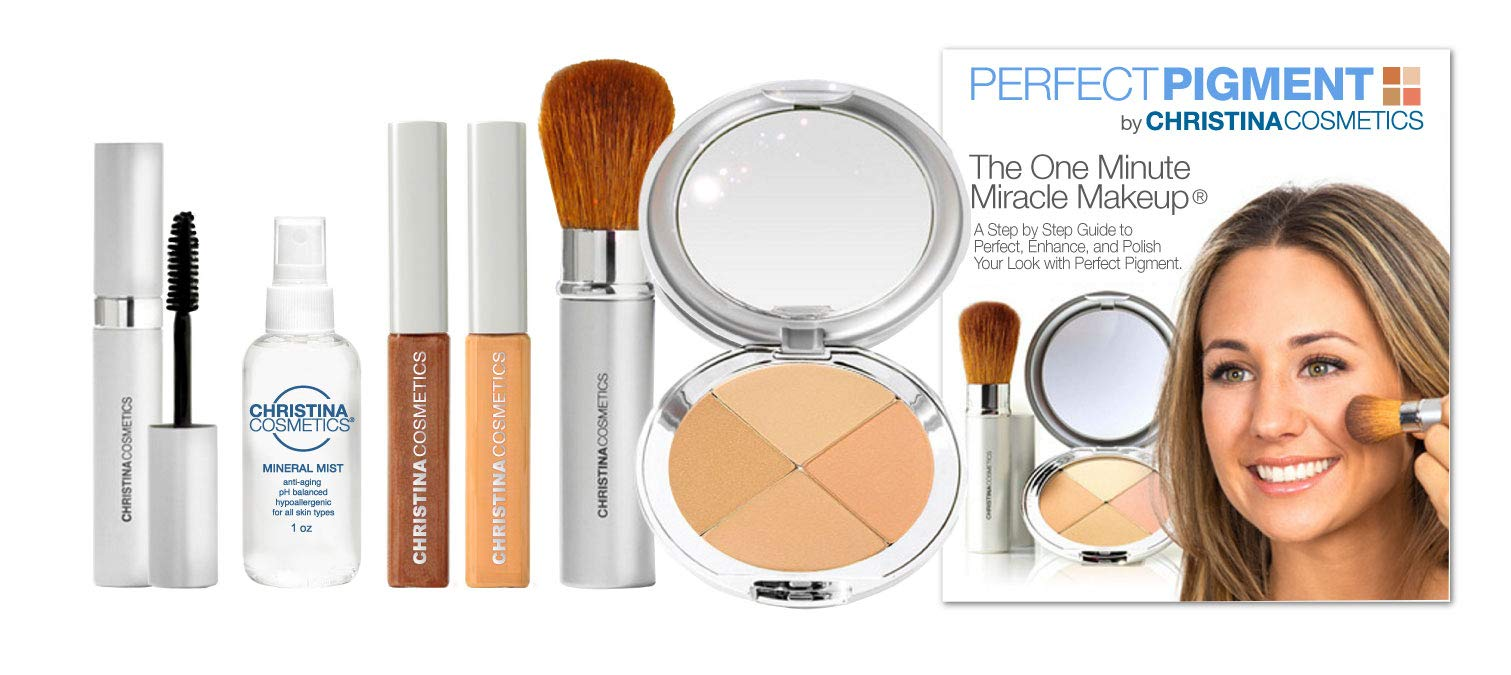 Christina Cosmetics Perfect Pigment 2: The 1 Minute Miracle Makeup! Full size 7 pc Kit - For Olive to Tan complexions by Christina Cosmetics