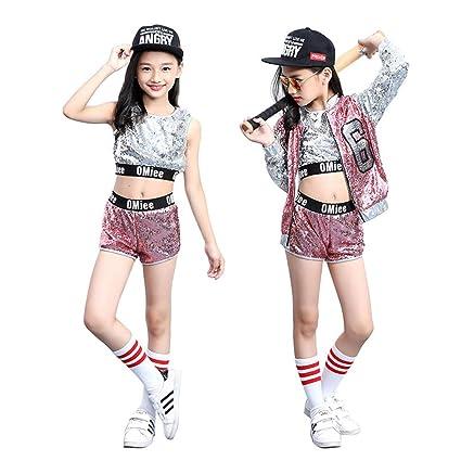 622ef6790 XCR Trajes de Baile Niños Niñas Moderno Tops Jazz Hip-Hop Danza Street  Dancewear Conjunto