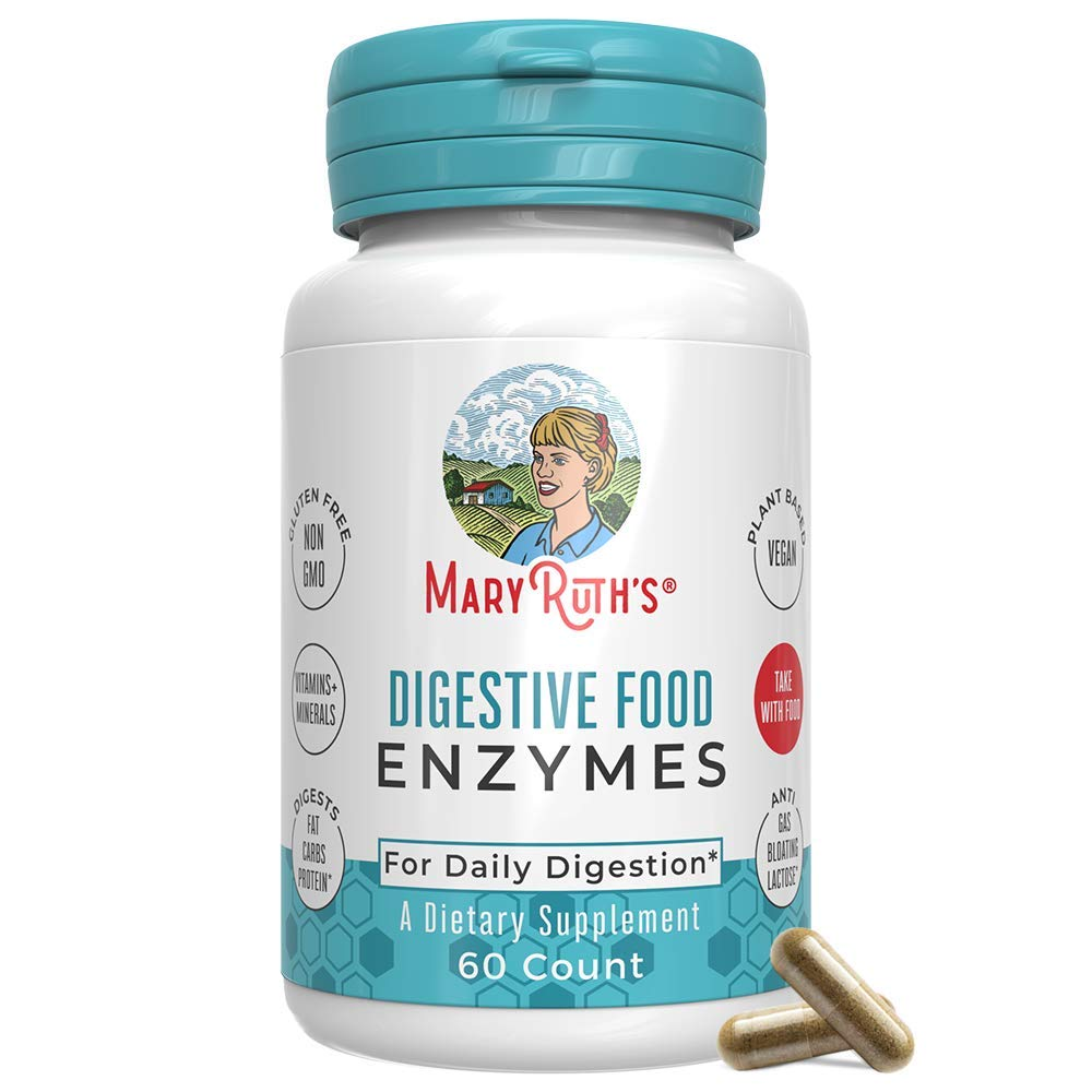 Vegan Digestive Food Enzymes (GMP Certified + Tested) by MaryRuth - Enzyme Complex for Daily Digestion - Over 12 Enzymes Including Amylase, Lipase, Lactase + Cofactor Vitamins & Minerals - 60 Count by MaryRuth Organics