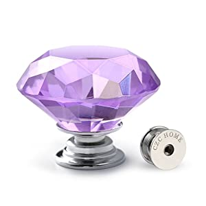 CZC HOME 10 PCS Diamond Crystal Glass Pull Handle Cabinet Knobs Cupboard Drawers Cabinet Dresser Bookcase Wardrobe (40mm, Purple)