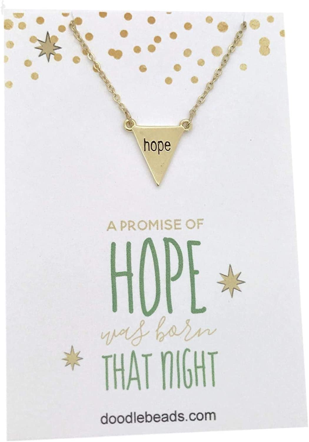 Holiday Party Favor Teacher Gift Christmas Card Necklace Christmas Hope Necklace Gold with 16-18 adjustable chain