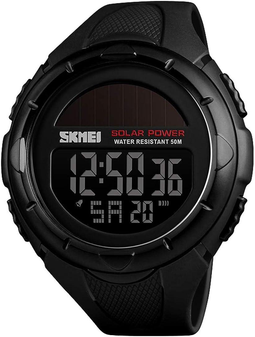 Youwen Outdoor Mens Watches Waterproof Solar Power Digital Watch Fashion Men Clock Sports Wrist Watches with PU Band