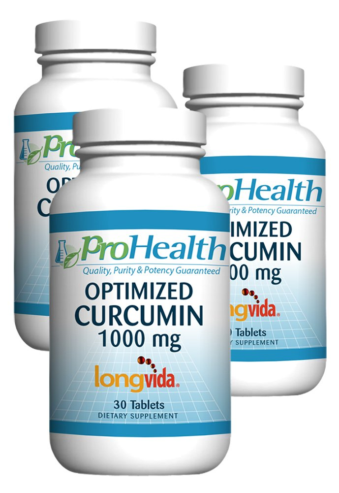 ProHealth Optimized Curcumin Longvida 3-Pack (1000 mg, 30 Tablets) (3-Bottles) 285x More Bioavailable | Joint Health | Cognition | Anti-Inflammatory | Antioxidant Supplement