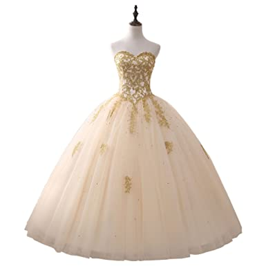 Amazon.com: Women\'s Champagne and Gold Sweet 15 Quinceanera Prom ...
