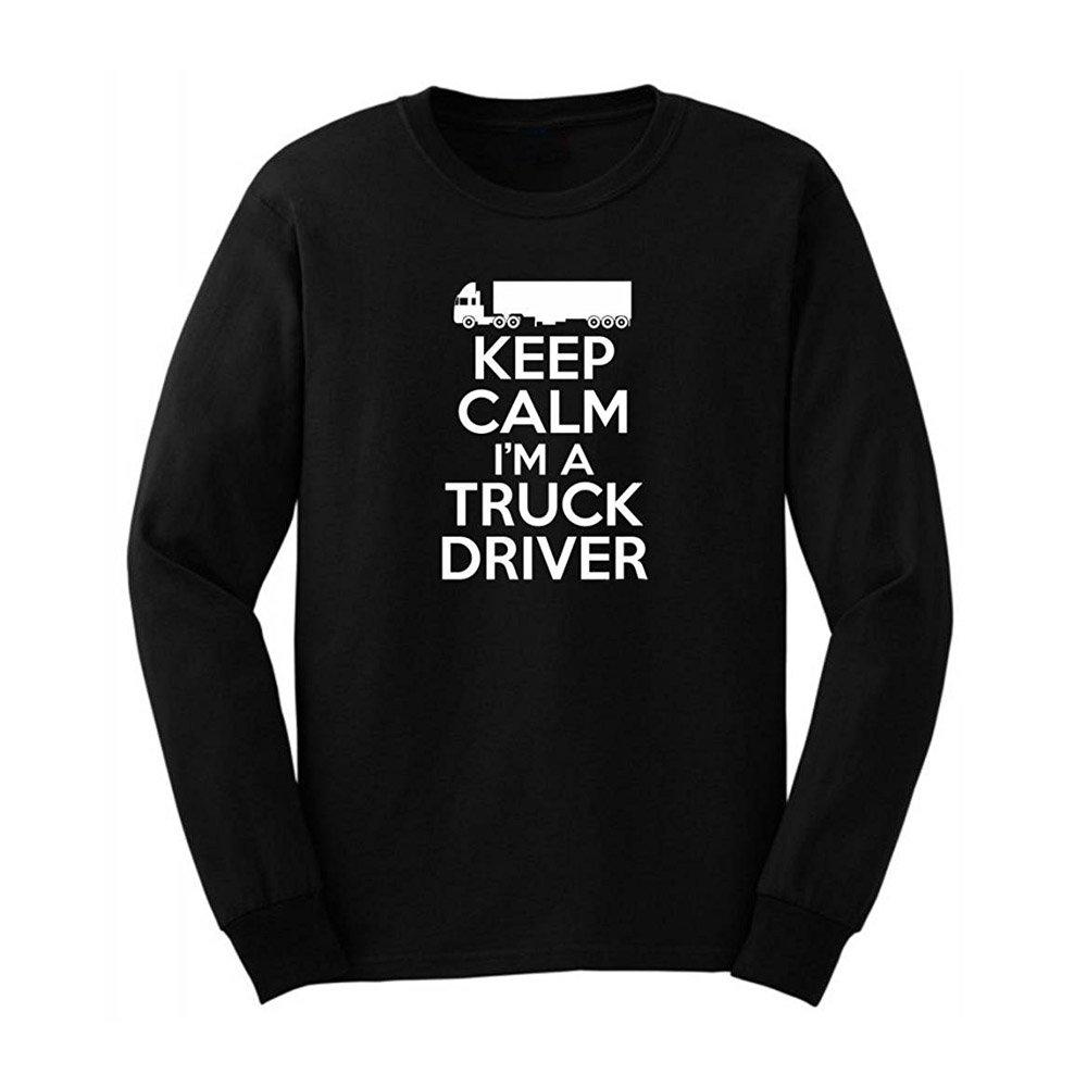 219cab2ce Loo Show Mens Keep Calm I'm a Truck Driver Long Sleeve T-Shirts Casual Men  Tee | Amazon.com