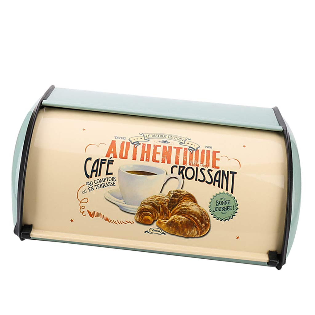 Bread Bin Storage Container with Lid Pastries Metal Vintage Retro Design for Loaves 32x22x14cm SM SunniMix Large Bread Box for Kitchen Counter Sliced Bread