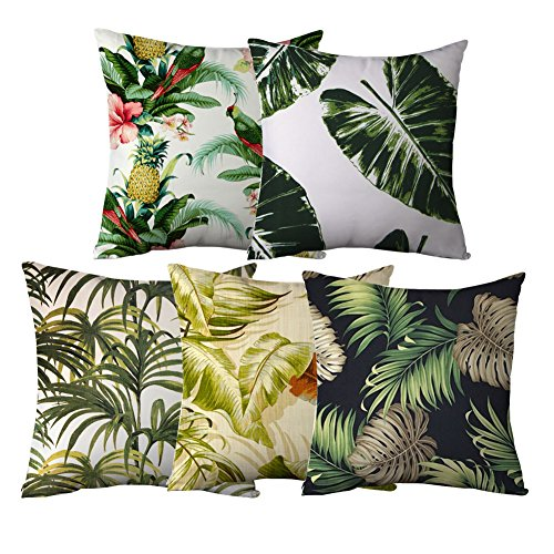 Popeven Set of 6 Throw Pillow Covers Tropical Palm Decorative Pillow Shams Banana Leaves Sofa Cushion Covers Square Canvas Accent Throw Pillows for Couch